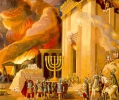 The burning of the Temple in A.D. 70.