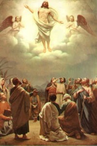 Jesus' Ascension into Heaven in Acts 1:9-11.