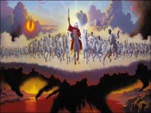 An artistic depiction of the second coming as it is described in Revelation 19.