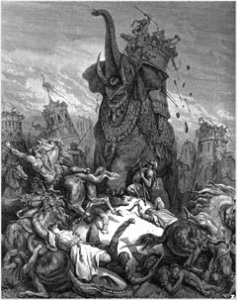 "In fulfillment of Zechariah 14:2, 2 Maccabees 8:9 says that the Seleucid army that attacked the Maccabees during the Maccabean Wars consisted of Gentiles from ""all the nations."""