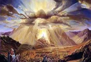 When God descended on Mt. Sinai there was also fire, smoke, thunder, rumblings, lightning and an earthquake according to Exodus 19:16, 18. This is the Glory Cloud which is also alluded to in Revelation 8:5.