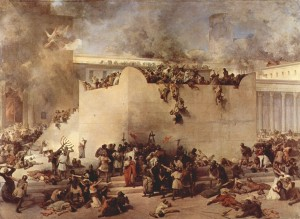 The siege of Jerusalem.Hayez, Francesco. The Destruction of the Temple of Jerusalem. 1867. Galleria d'Arte Moderna, Venice.
