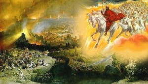 An artistic depiction of the army in the clouds in A.D. 66. Notice the similarities between this historical event and Revelation 19's description of the second coming.