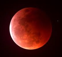 During a full lunar eclipse the moon turns blood red.
