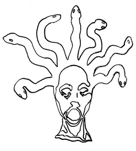 head of medusa revelation 12:15-16 commentary