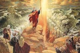 The parting of the red sea points to the separation of the waters in Genesis 1:9.