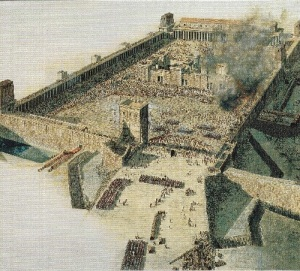 Above is an illustration of the siege ramp built by the Romans at the destruction of the temple in Jerusalem in A.D. 70.