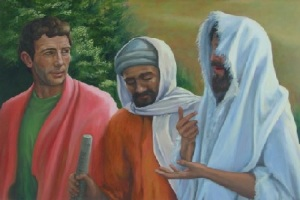 Perhaps the disciples did not initially recognize Jesus because his face was partially obscured?
