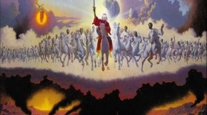 In Revelation 19:11-16 Jesus leads an army of angels in the sky.