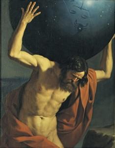 Barbieri, Giovanni Francesco. Atlas holding up the Celestial Globe. 1646.