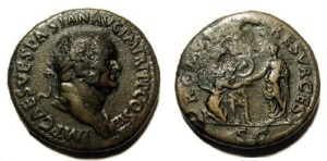 Above is a coin printed during Vespasian's reign depicting Vespasian extending out his hand to help the goddess Roma back to her feet.