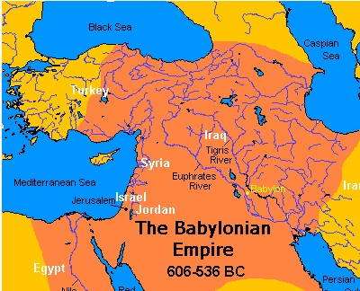 The ancient city of Babylon was directly east of Israel.