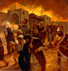 The destruction of Jerusalem by the Babylonians in the sixth century B.C.