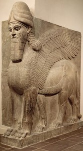 Human–headed winged lion (lamassu), 883–859 b.c.; Neo–Assyrian period